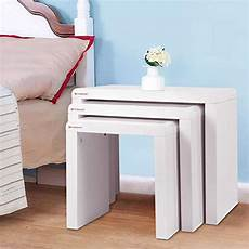 voilamart white nest of 3 tables high gloss nesting tables