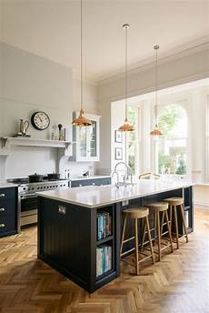 Copper Pendant Light Kitchen Copper Pendant Lights Hang Above A Beautiful Big Island In