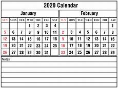 Calendar Print Out 2020 Free Printable January And February 2020 Calendar Template