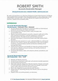 Accounts Receivable Resume Accounts Receivable Manager Resume Samples Qwikresume