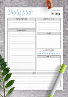 Downloadable Daily Planner Daily Planner Templates Printable Download Pdf
