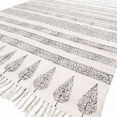black white flat weave woven cotton block print area