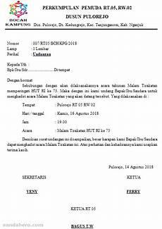 contoh surat undangan malam tirakatan 17 agustus hut ri