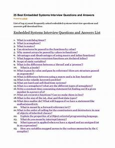 Frequently Asked Interview Questions And Answers 25 Best Embedded Systems Interview Questions And Answers