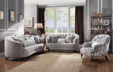 curved light gray curved tufted sofa set w plush