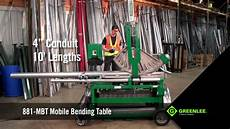 Greenlee Hydraulic Bender Chart Greenlee 881 Mbt Mobile Bending Table Youtube