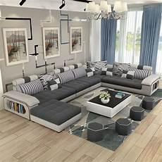 muebles de sala de estar de lujo moderno esquina tela sof 225