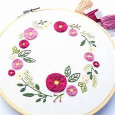 wreath embroidery pattern wandering threads