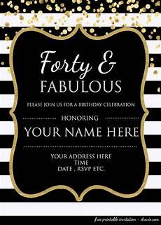Free Editable Invitation Templates Forty Amp Fabulous 40th Birthday Invitation Template Psd