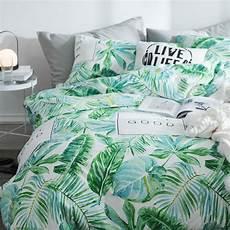 100 cotton tropical palm leaves duvet cover set