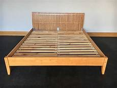 ikea king size wooden bed frame with slats in