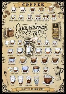 kaffe plakat 35 kaffee rezepte poster 50 x 70cm guggenheimer coffee