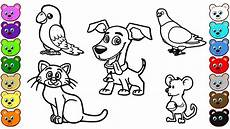 learn colors for with home animals coloring pages