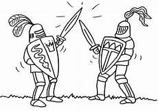 Malvorlagen Ritterburg Test Kostenlose Malvorlage Ritter Und Drachen Zwei Ritter Beim