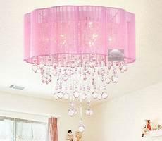 Baby Girl Room Light Fixtures Pink Drum Shade Crystal Ceiling Chandelier Pendant Light