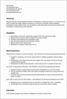 Community Service Worker Resume 1 Community Development Worker Resume Templates Try Them