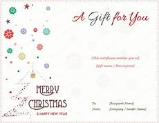 Gift Certificate Ideas For Christmas Christmas Gift Certificate Templates Editable And