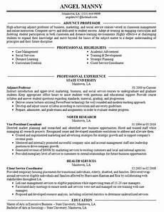 Professor Resume Examples Adjunct Professor Resume Example College University