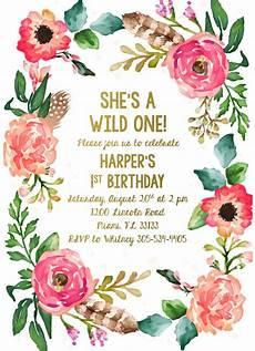 21 Bday Invites Wild One Birthday Invitation Girl First 1st Birthday