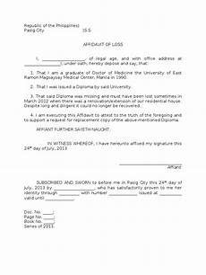 Affidavit Samples Sample Affidavit Of Loss Of A Diploma