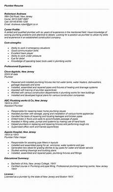 Plumbing Resume Samples Plumber Resume Resumes Resume Examples Resume Job
