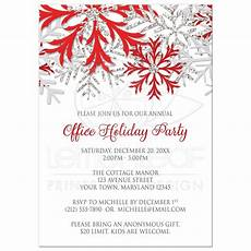 Office Christmas Party Invites Holiday Party Invitations Red Silver Snowflake Winter