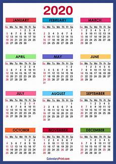 2020 Calendar Free Download 2020 Calendar With Holidays Printable Free Colorful
