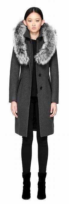 mackage coats for blue fur mackage mila x wool coat with fur trim in charcoal in