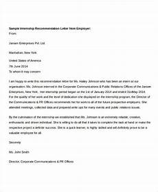 End Of Internship Letter From Employer Free 36 Recommendation Letter Format Samples In Ms Word Pdf