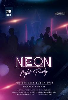 Party Poster Template Neon Glow Party Free Psd Flyer Template Stockpsd