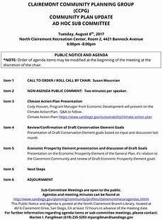 Community Meeting Agenda Clairemont Community Plan August Meeting Agenda The