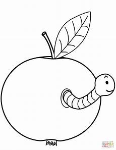 worm is coming out of apple coloring page free printable
