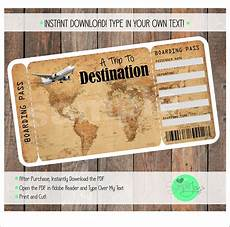 Ticket Making Template Printable Vacation Surprise Ticket Boarding Pass Vintage