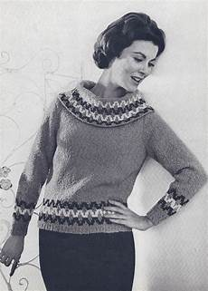 vintage knitting pattern to make 50s knit cowell neck
