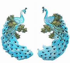peacock applique i501 iron on l blue applique peacock bird 1pair ebay