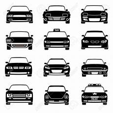cars in front view black vector icons automobile black