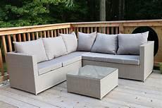 large 4 pc modern beige rattan wiker sectional sofa set