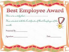 Employee Award Templates Free Best Employee Award Certificate Template