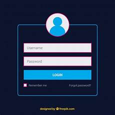 Free Login Template Download Dark Blue Login Form Template Vector Free Download