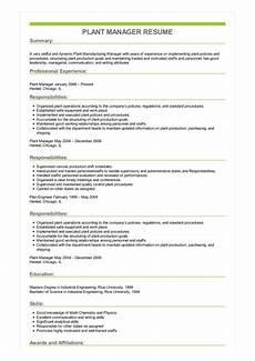Plant Manager Resume Sample Plant Manager Resume