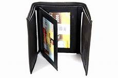 tri fold windows leather trifold 6 credit card 3 id window wallet black men