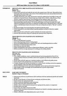 Maintenance Technician Resume Sample Preventative Maintenance Technician Resume Samples