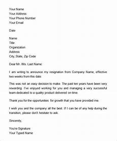 2 Week Notice Letter Examples Two Weeks Notice Letter 12 Download Free Documents In Word