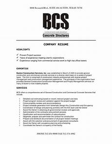 Company Resume Examples Construction Company Resume Template Job Resume Examples