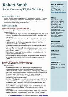 Digital Media Resume Director Of Digital Marketing Resume Samples Qwikresume
