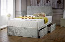 silver crushed velvet divan bed with memory orthopaedic