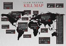 Horror Movie Body Count Chart Awesome Quot Kill Map Quot Infographic For All Of Liam Neeson S