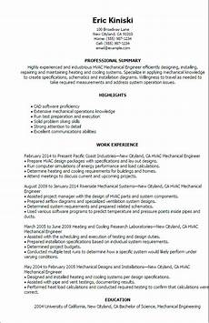 Hvac Project Manager Resumes Professional Hvac Mechanical Engineer Templates To