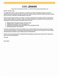 Cover Letter Examples For Nanny Position Best Nanny Cover Letter Examples Livecareer