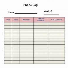 Phone Log Free 5 Sample Printable Phone Log Templates In Pdf Ms Word